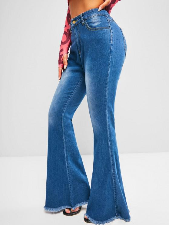women High Waisted Frayed Hem Flare Jeans - BLUE M
