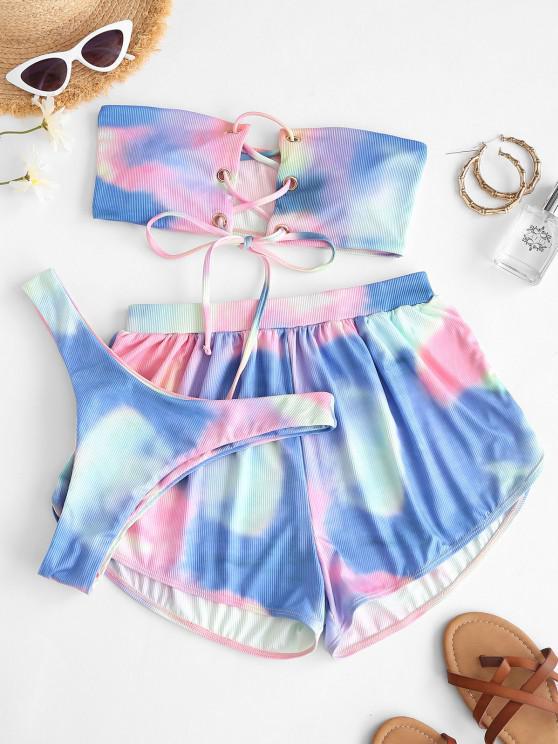 hot ZAFUL Ribbed Tie Dye Lace Up Bandeau Three Piece Bikini Swimwear - BLUE S