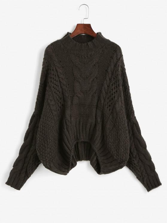 Cable Knit Chunky Oversize Sweater - قهوة حجم واحد