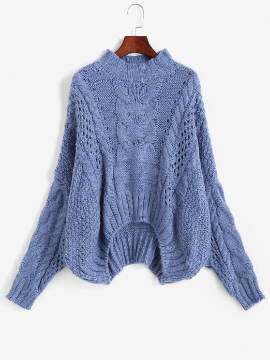 Cable Knit Chunky Oversize Sweater - أزرق حجم واحد