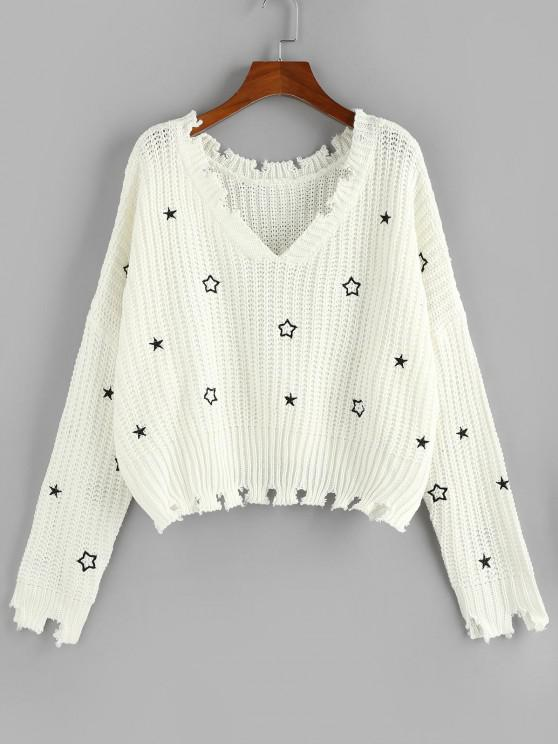 sale ZAFUL Star Embroidered Drop Shoulder Frayed Sweater - WHITE S