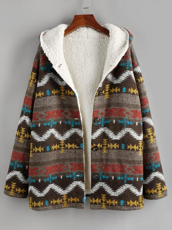 ladies ZAFUL Tribal Drop Shoulder Fleece Lined Hooded Coat - MULTI-A M