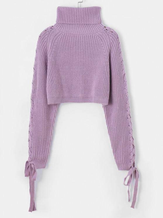 online Lace Up Turtleneck Raglan Sleeve Cropped Sweater - LIGHT PURPLE ONE SIZE