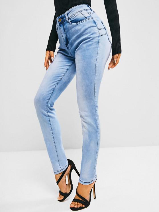 Pockets Bleach Wash High Waisted Skinny Jeans - أزرق فاتح L