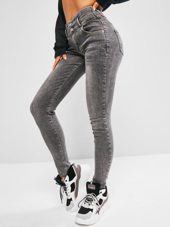 Raw Hem High Waist Skinny Jeans - اللون الرمادي M