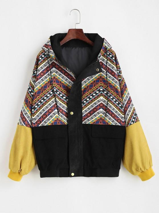 Grunge Style Hooded Colorblock Corduroy Jacket - متعدد S