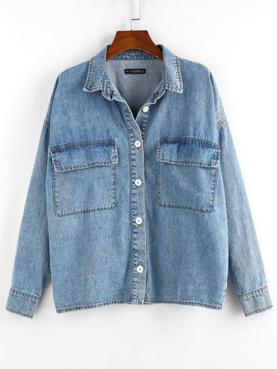 hot Drop Shoulder Pocket Denim Jacket - BLUE L