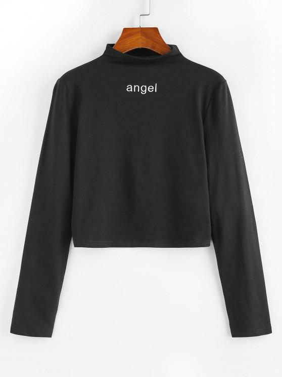 latest ZAFUL Angel Embroidered Crew Neck Long Sleeve Tee - BLACK S