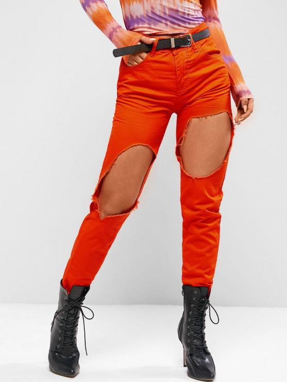 lady Destroyed Cut Out Colored Tapered Jeans - BRIGHT ORANGE XL