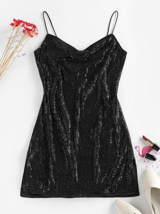 affordable ZAFUL Sequin Side Slit Party Mini Dress - BLACK XL