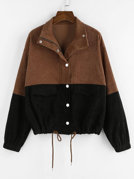 outfit ZAFUL Corduroy Two Tone Drop Shoulder Jacket - MULTI-A S