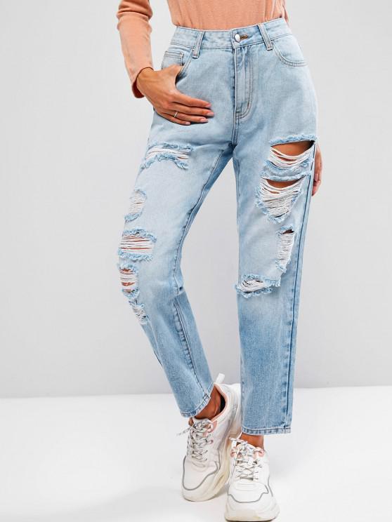 ZAFUL Jeans Rasgados de Cinco Bolsillos y Cremallera - Azul Claro XL