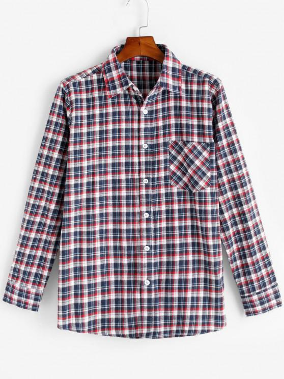 buy Plaid Print Pocket Patch Button Up Shirt - RED S