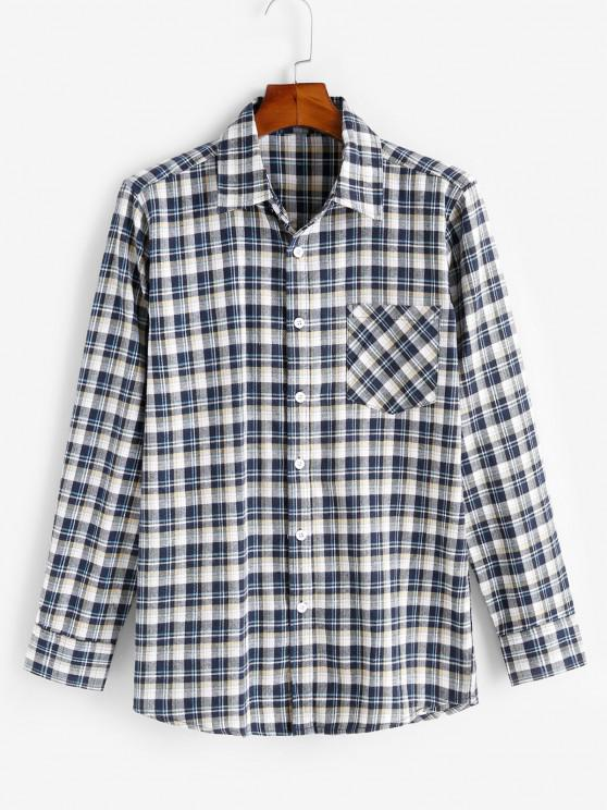 outfits Plaid Print Pocket Patch Button Up Shirt - YELLOW XS