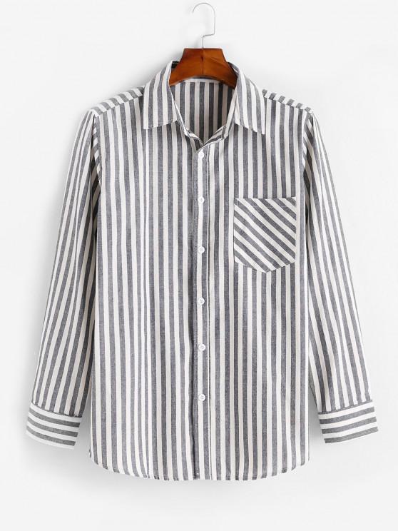 Vertical Striped Print Long Sleeve Pocket Shirt - متعدد L