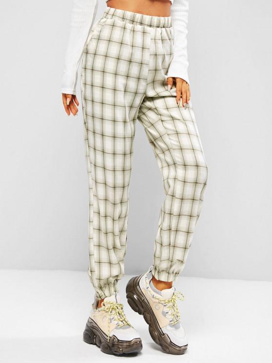 Pantalon à Carreaux à Taille Haute avec Poches - Vert clair M