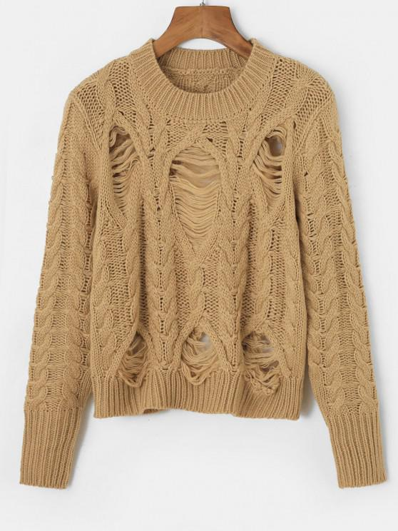 shop Distressed Crew Neck Cable Knit Sweater - COFFEE ONE SIZE