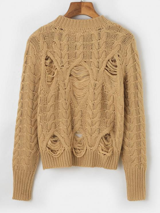 Distressed Crew Neck Cable Knit Sweater - Coffee   ZAFUL
