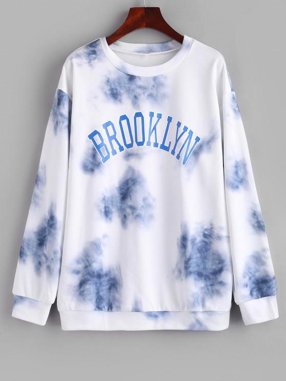 women's Letter Tie Dye Drop Shoulder Loose Sweatshirt - LIGHT BLUE L