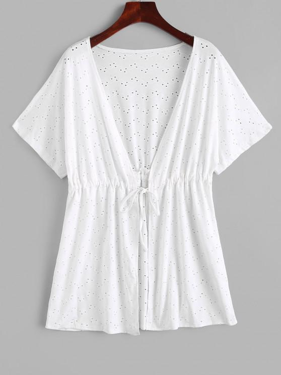 affordable Broderie Anglaise Waist Drawstring Tie Top - WHITE ONE SIZE