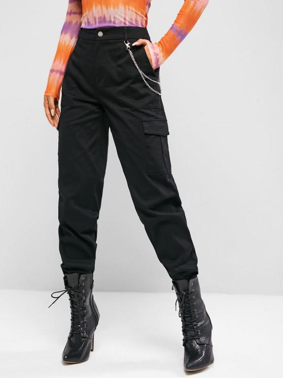 affordable ZAFUL High Waisted Chains Cargo Pants - BLACK S