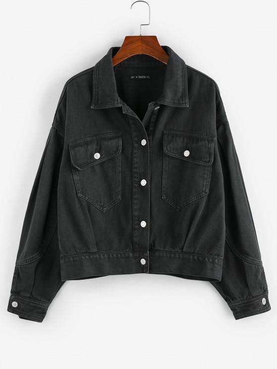 shop ZAFUL Flap Pockets Denim Jacket - BLACK M