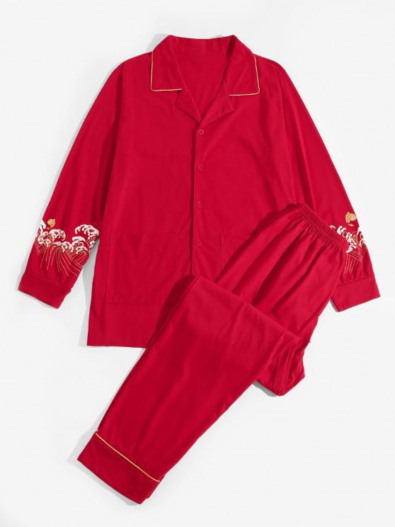 women Sea Wave Koi Fish Pattern Pajama Set - RED M