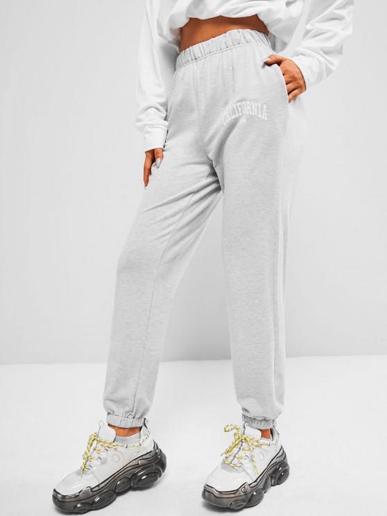 ZAFUL Jogger Pantalones de Cintura Alta con Estampado de California - Gris XL