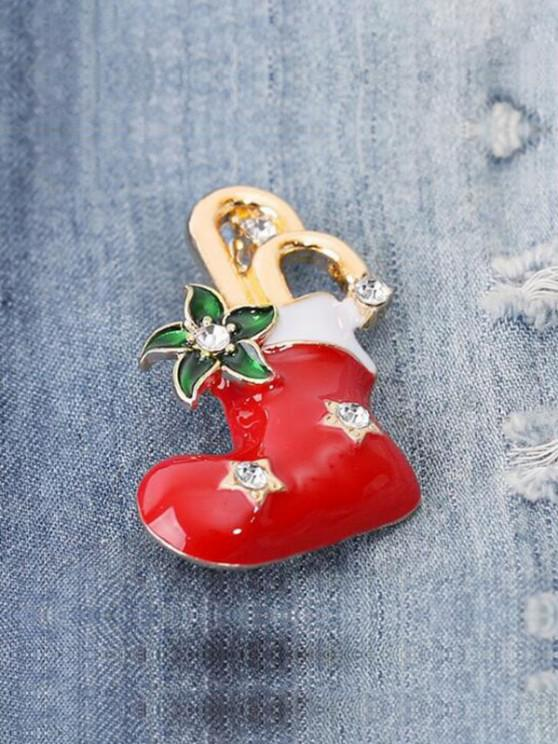 trendy Christmas Stocking Shape Brooch - RED
