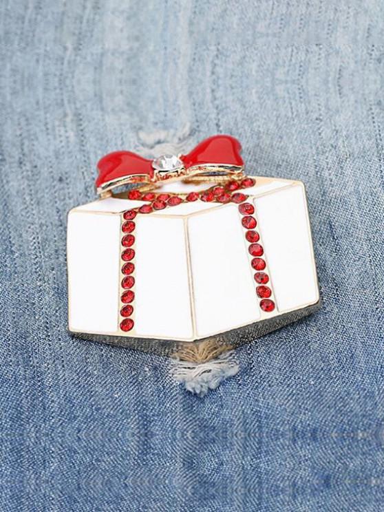 unique Christmas Gift Shape Rhinestone Brooch - WARM WHITE