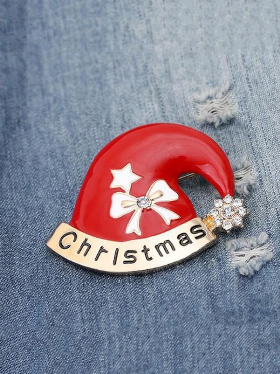 sale Christmas Hat Shape Rhinestone Brooch - RED WINE