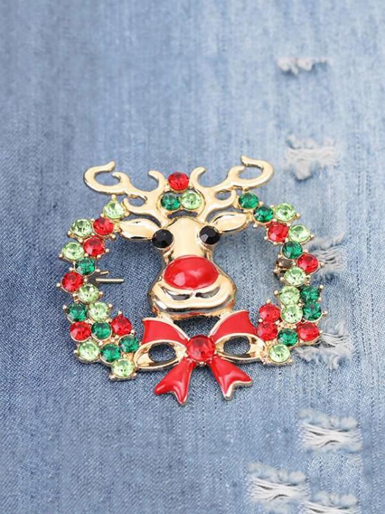 buy Christmas Elk Garland Rhinestone Brooch - CHESTNUT RED