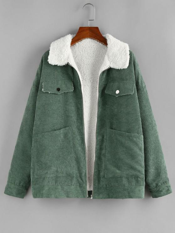ZAFUL Corduroy Pocket Drop Shoulder Fleece Lined Jacket - الجيش الأخضر S