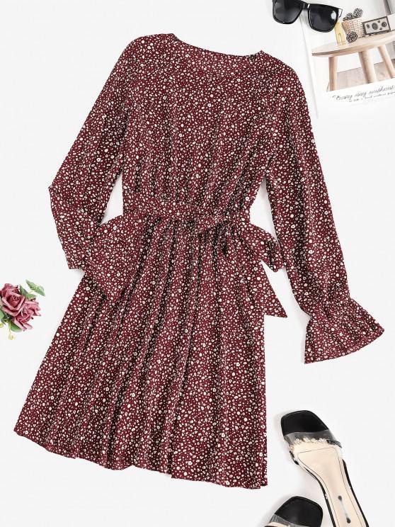 women's Leopard Poet Sleeve Belted Dress - DEEP RED M