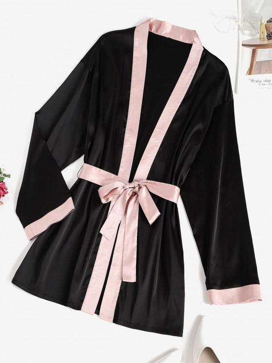 new ZAFUL Belted Contrast Trim Robe - BLACK S
