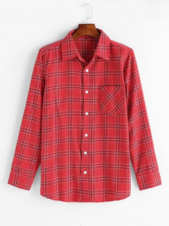 buy Plaid Pattern Pocket Patch Shirt - RED XS