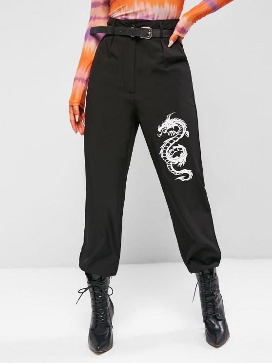 shops Oriental Dragon High Waisted Pants - BLACK M