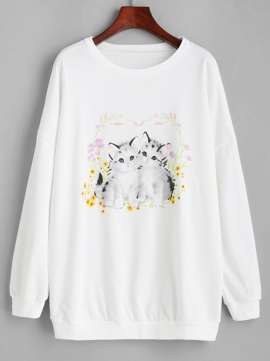 outfits Loose Twins Cat Floral Graphic Sweatshirt - WHITE L