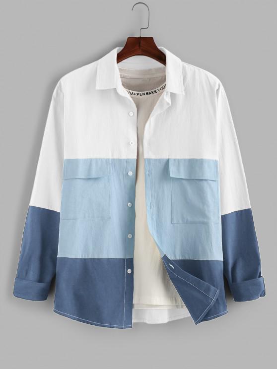 buy ZAFUL Long Sleeve Contrast Cargo Shirt - WHITE S