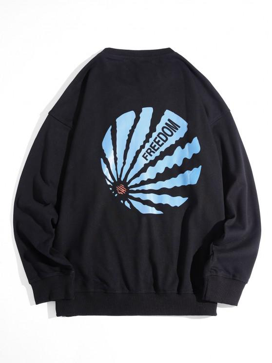 Drop Shoulder Freedom Graphic Sweatshirt - أسود 4XL