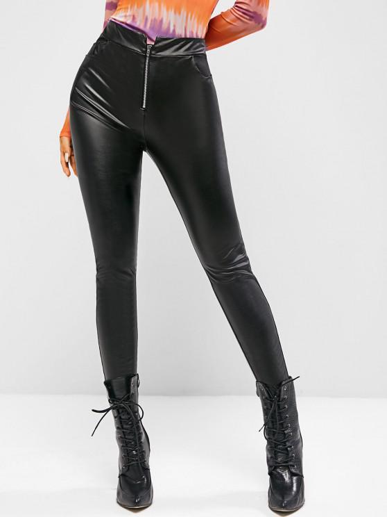 fashion ZAFUL Faux Leather Zip Fly Skinny Pants - BLACK L