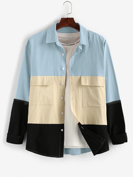 unique ZAFUL Long Sleeve Contrast Cargo Shirt - BLUE GRAY 2XL