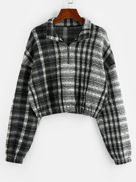 ZAFUL Plaid Quarter Zip Drop Shoulder Pullover Sweatshirt - متعددة F S