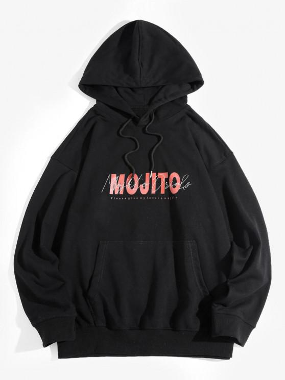 affordable Mojito Letter Print Drop Shoulder Hoodie - BLACK 2XL