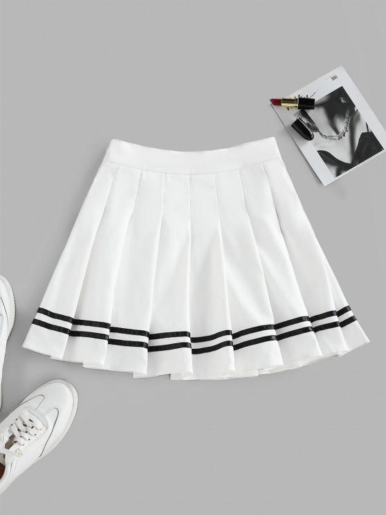 fashion ZAFUL Knife Pleated Striped A Line Skirt - WHITE M