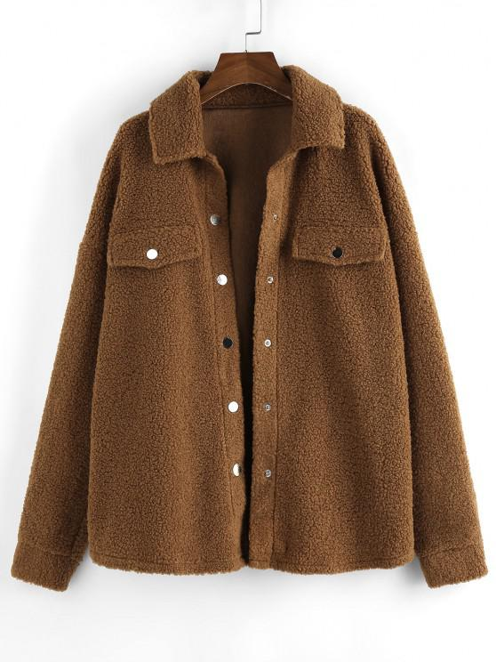 affordable ZAFUL Drop Shoulder Button Up Long Teddy Coat - BROWN L