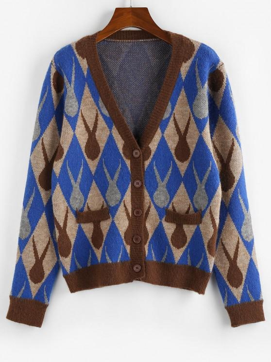 best ZAFUL Argyle Plunging Button Up Cardigan - MULTI L