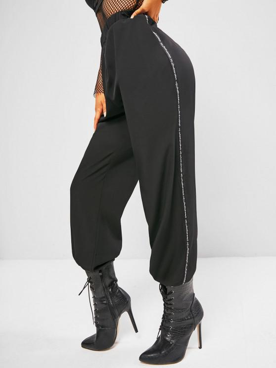 trendy Letter-tape Side Toggle Drawstring High Waisted Pants - BLACK S