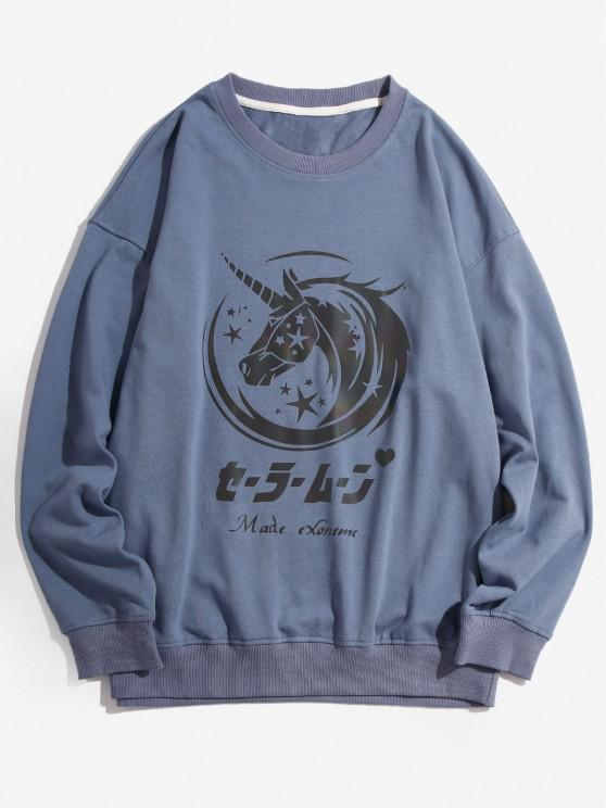 Letter Unicorn Pattern Drop Shoulder Sweatshirt - أزرق 4XL