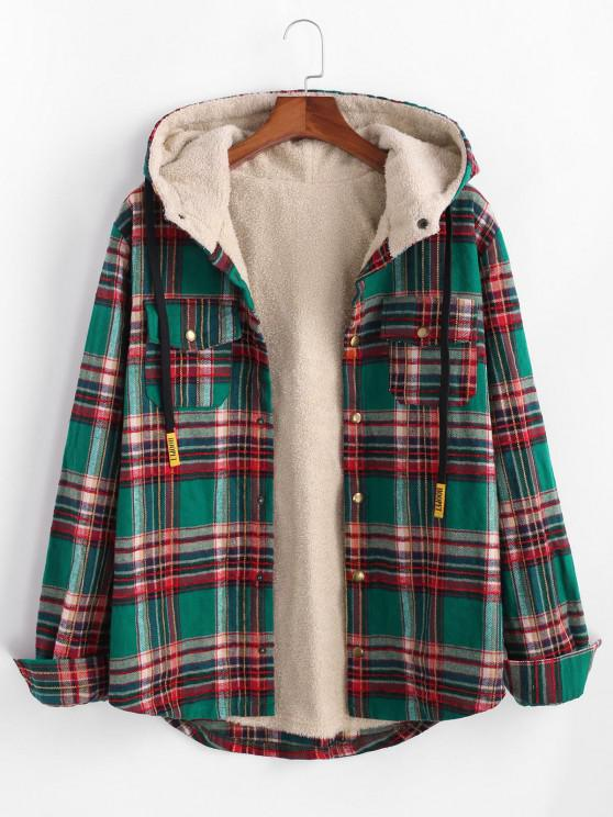 Plaid Pattern Pocket Plush Hooded Shirt Jacket - ديب غرين M